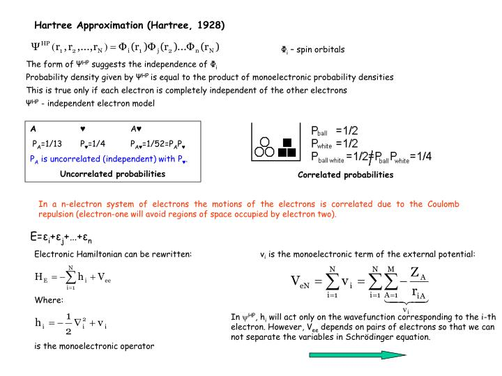 Hartree Approximation (Hartree, 1928)