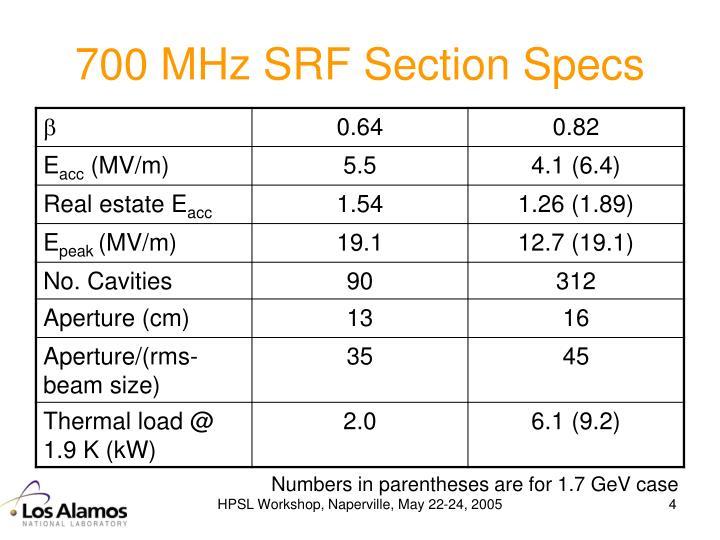 700 MHz SRF Section Specs