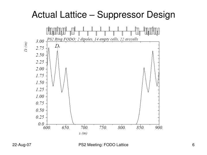 Actual Lattice – Suppressor Design