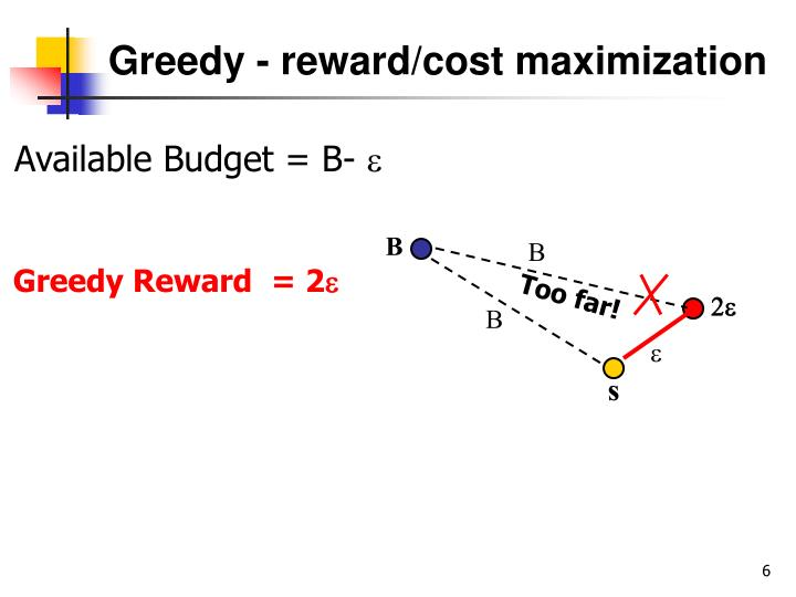 Greedy - reward/cost maximization
