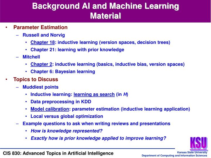 Background AI and Machine Learning