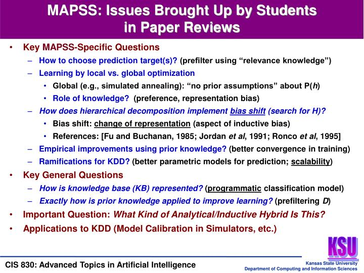 MAPSS: Issues Brought Up by Students