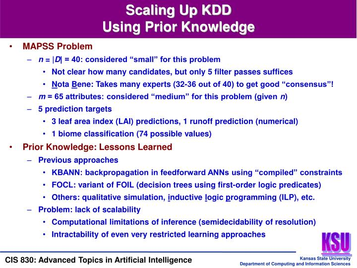 Scaling Up KDD