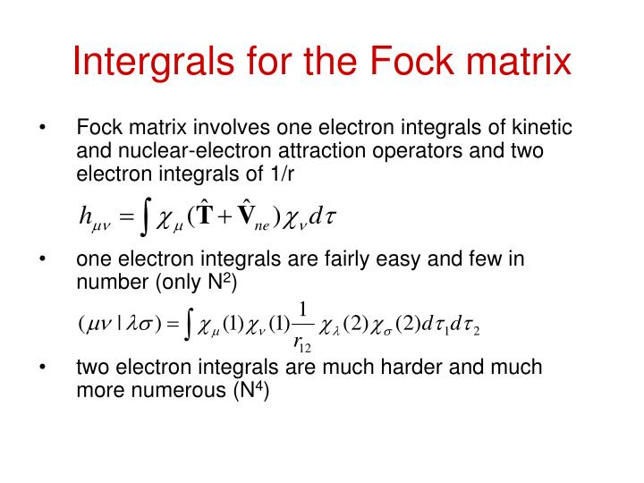 Intergrals for the Fock matrix