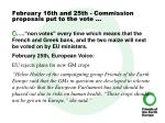 february 16th and 25th commission proposals put to the vote