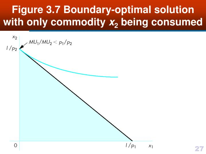 Figure 3.7 Boundary-optimal solution with only commodity