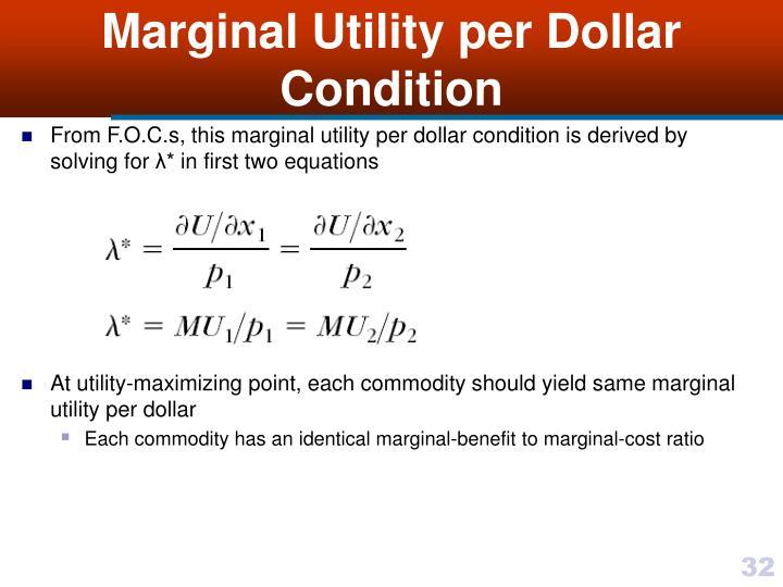 Marginal Utility per Dollar Condition