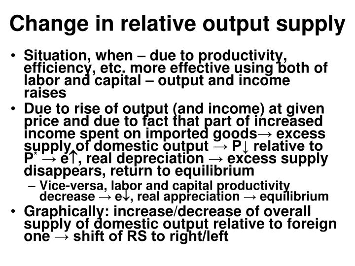 Change in relative output supply