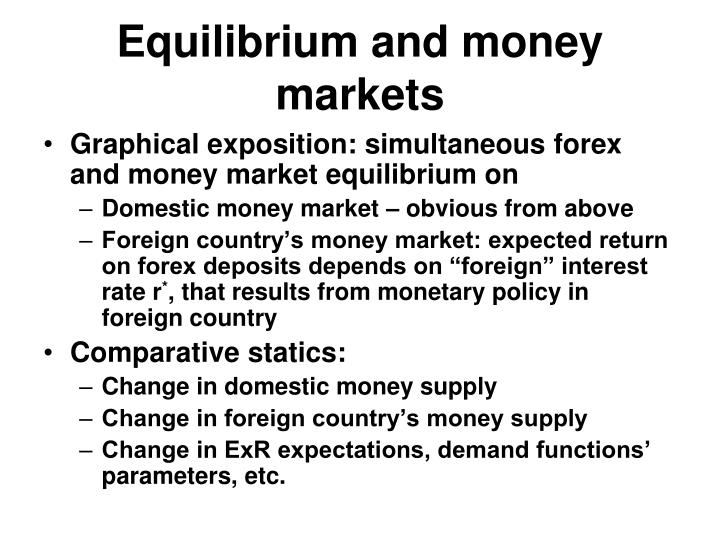 Equilibrium and money markets