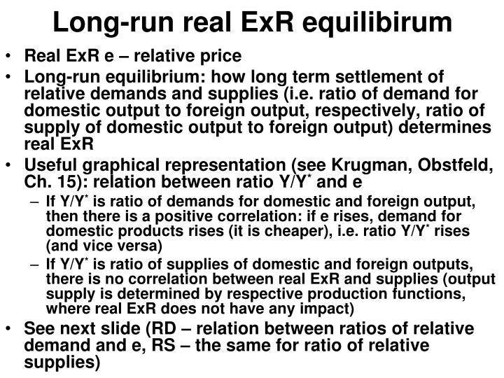 Long-run real ExR equilibirum