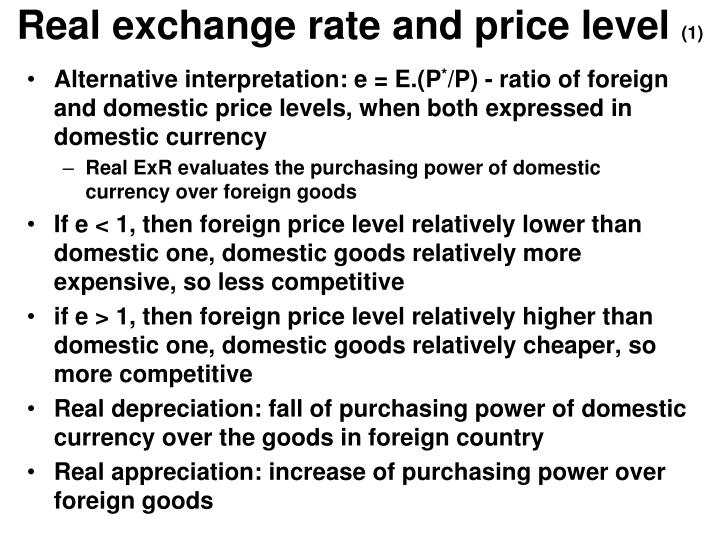 Real exchange rate and price level