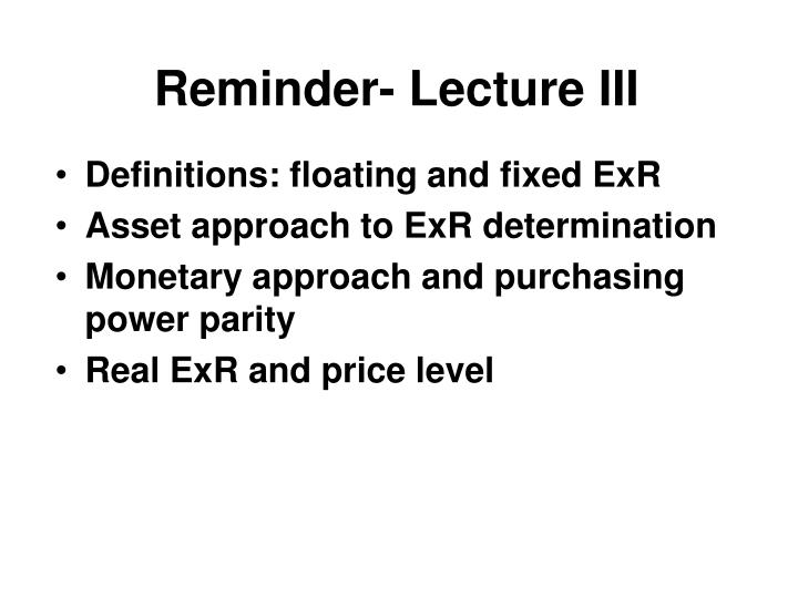 Reminder lecture iii