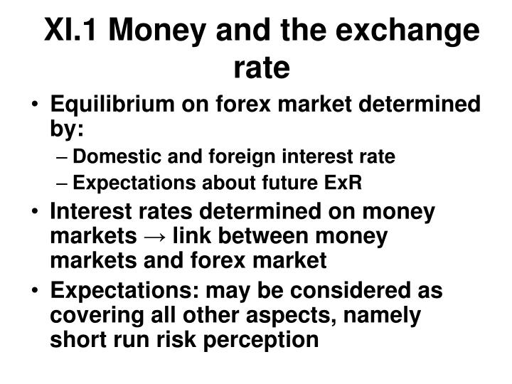 XI.1 Money and the exchange rate