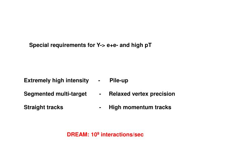 Special requirements for Y-> e+e- and high pT