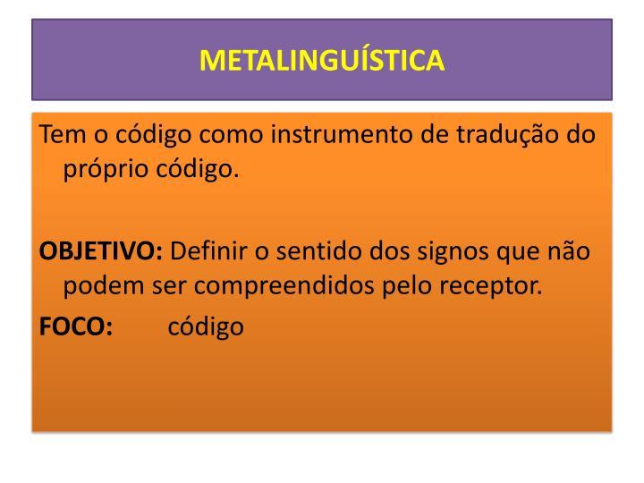 METALINGUÍSTICA