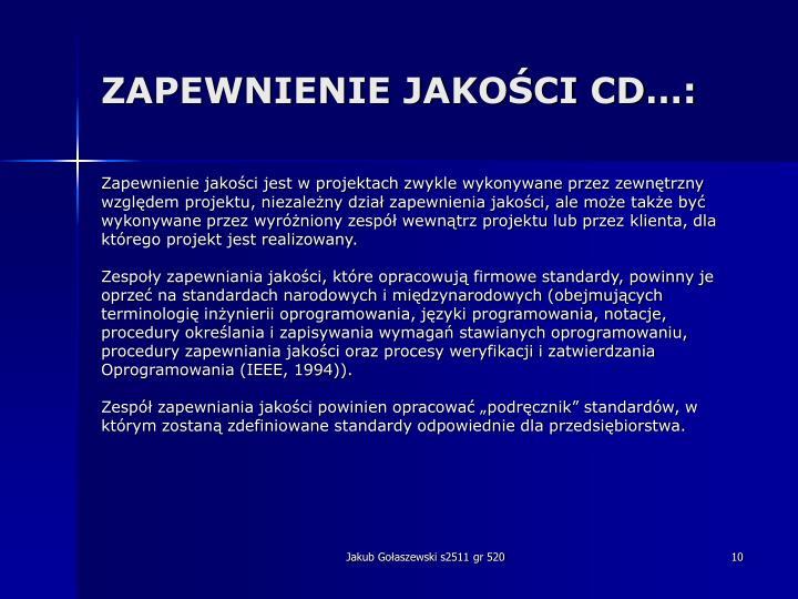 ZAPEWNIENIE JAKOŚCI CD…: