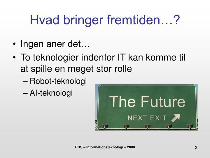 Hvad bringer fremtiden…?