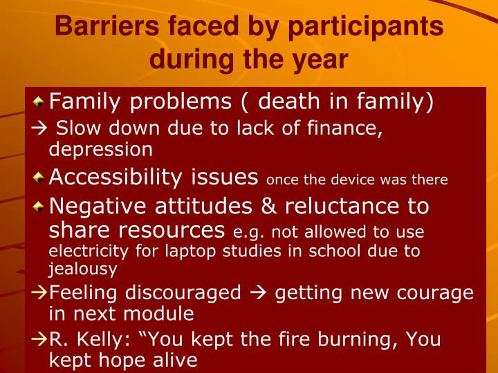 Barriers faced by participants during the year