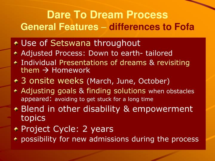 Dare To Dream Process