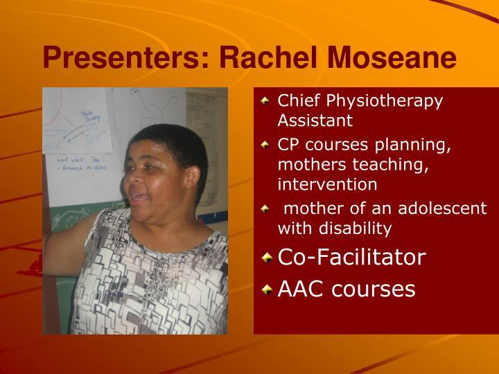 Presenters: Rachel