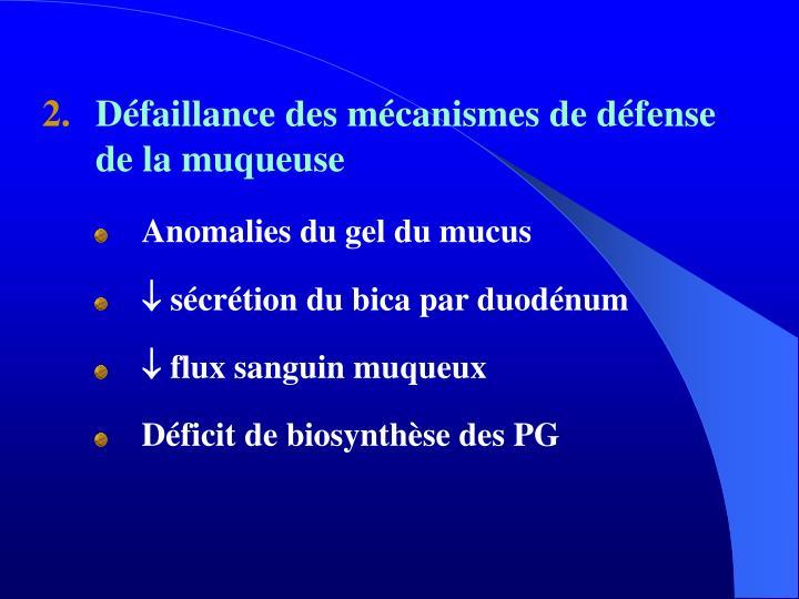 Défaillance des mécanismes de défense de la muqueuse