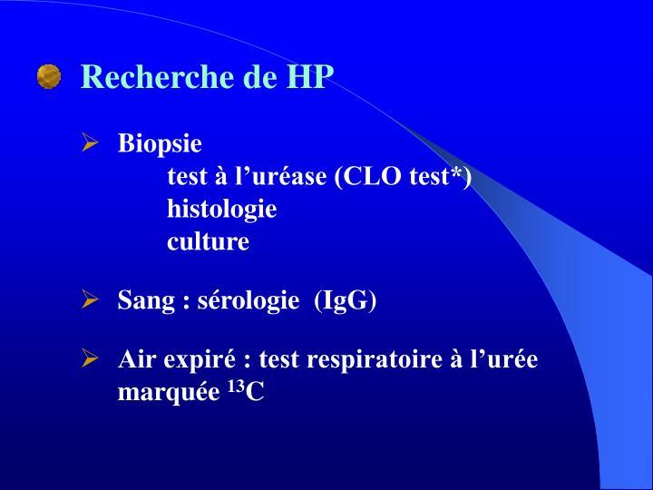 Recherche de HP