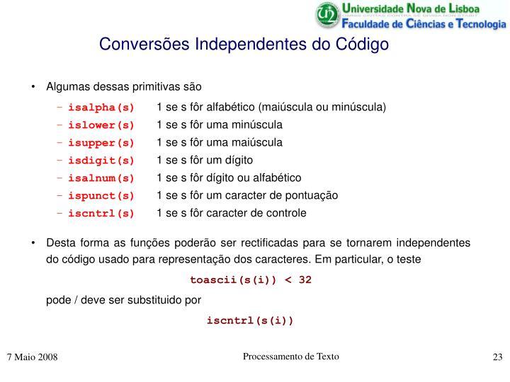 Conversões Independentes do Código