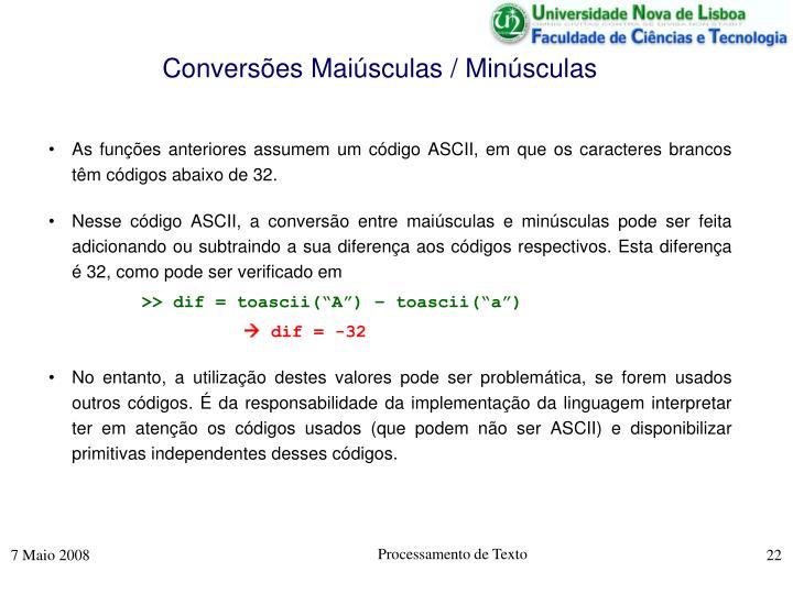 Conversões Maiúsculas / Minúsculas