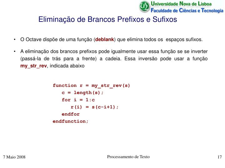 Eliminação de Brancos Prefixos e Sufixos
