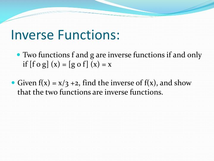 Inverse Functions: