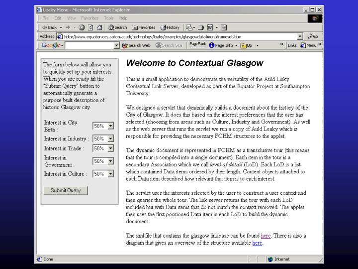 Glasgow Servlet II