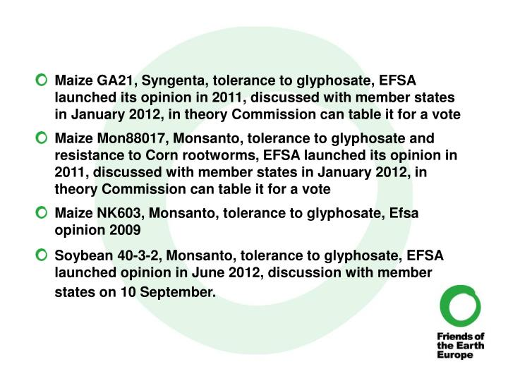 Maize GA21, Syngenta, tolerance to glyphosate, EFSA launched its opinion in 2011, discussed with member states in January 2012, in theory Commission can table it for a vote