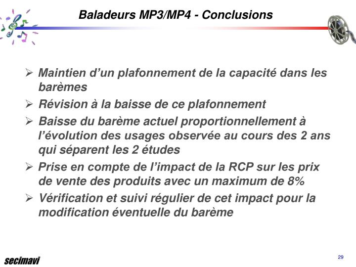 Baladeurs MP3/MP4 - Conclusions