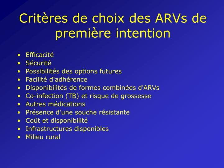 Critères de choix des ARVs de première intention