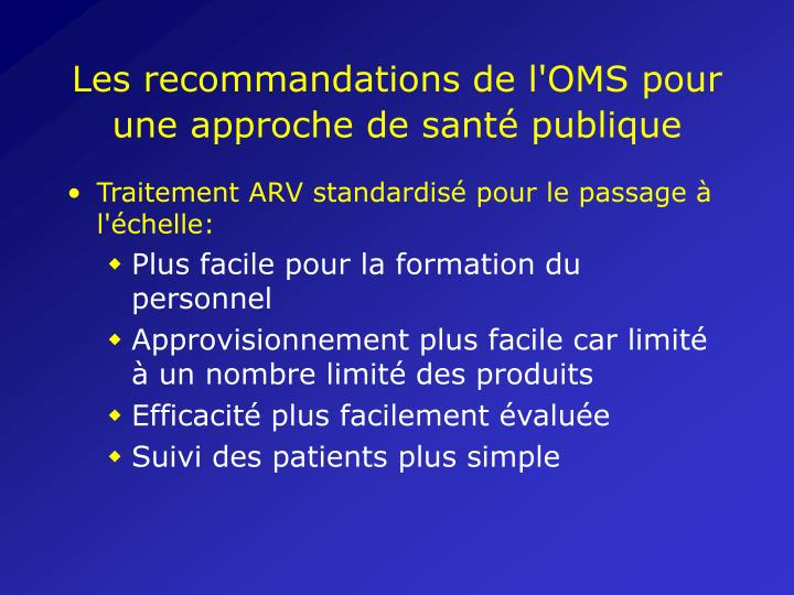 Les recommandations de l'OMS pour une approche de santé publique