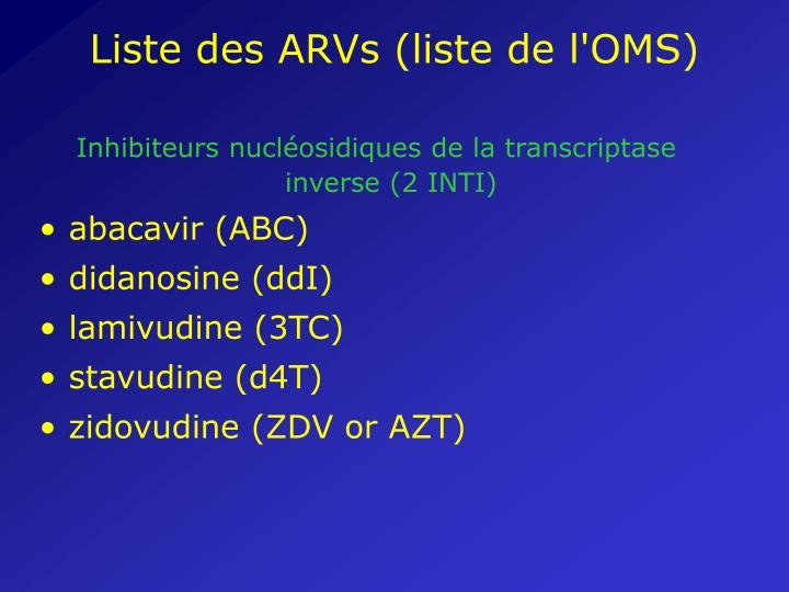 Liste des ARVs (liste de l'OMS)