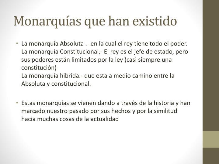 Monarquías que han existido