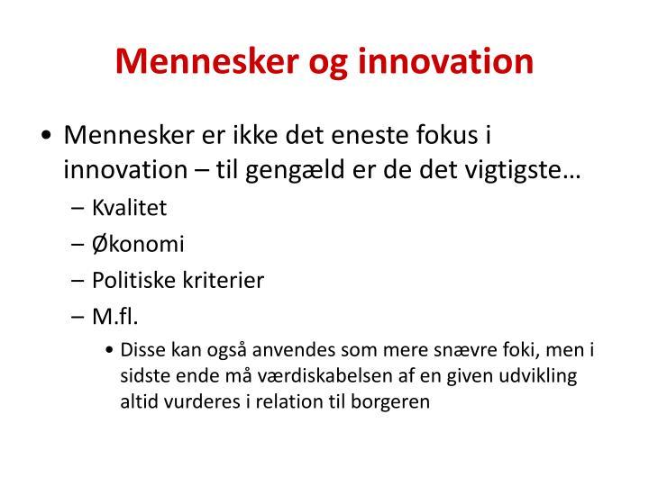 Mennesker og innovation