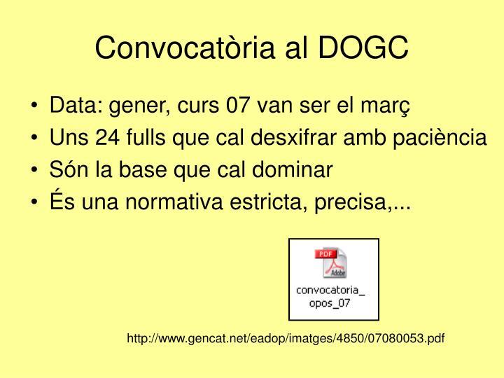 Convocatòria al DOGC