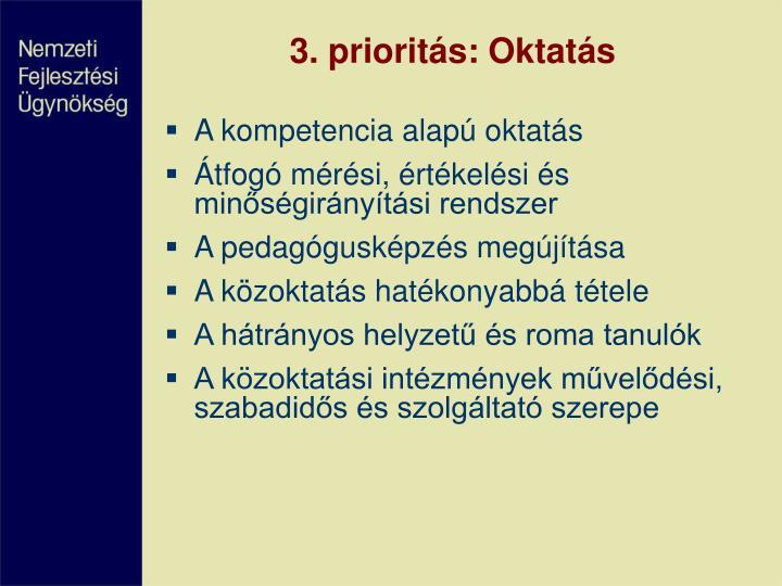 3. prioritás: Oktatás