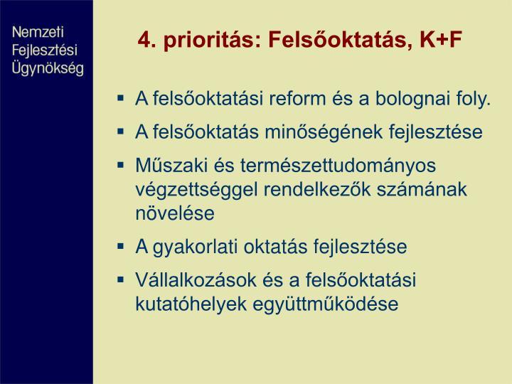 4. prioritás: Felsőoktatás, K+F