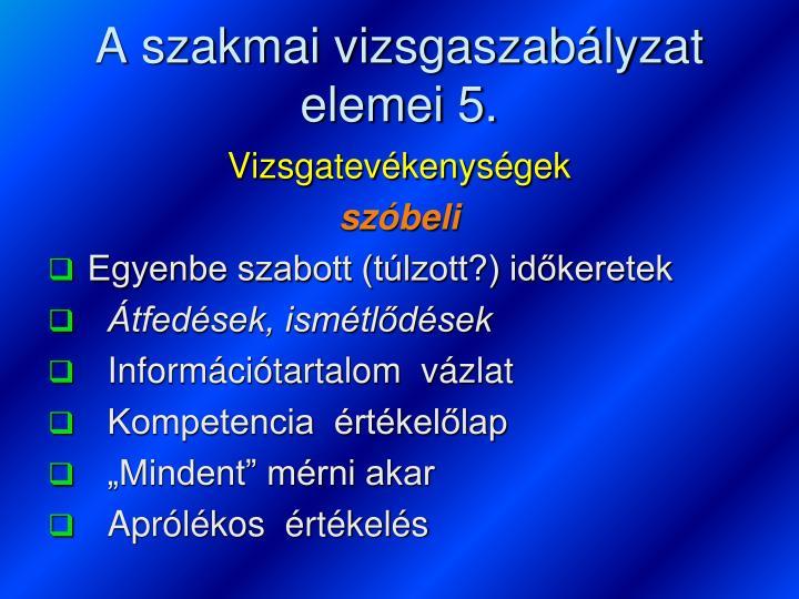 A szakmai vizsgaszabályzat elemei 5.