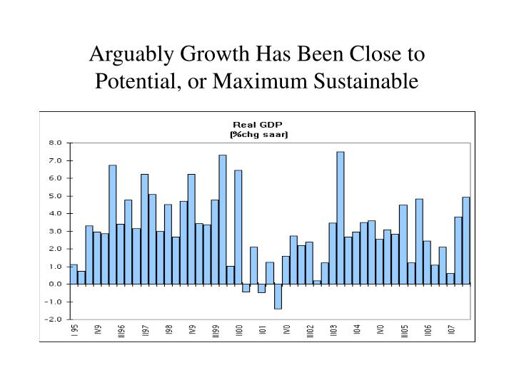Arguably Growth Has Been Close to Potential, or Maximum Sustainable
