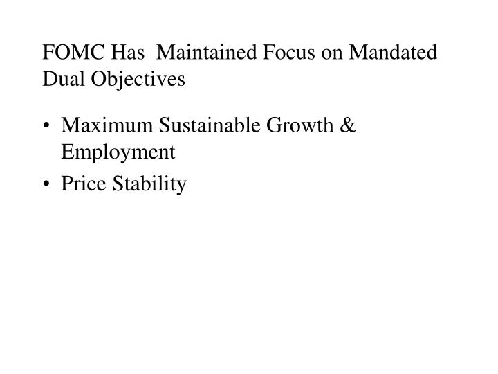 FOMC Has  Maintained Focus on Mandated Dual Objectives