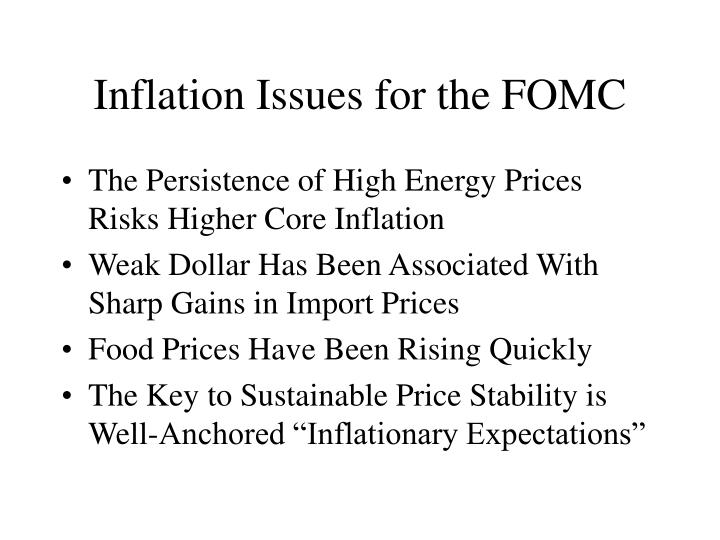 Inflation Issues for the FOMC