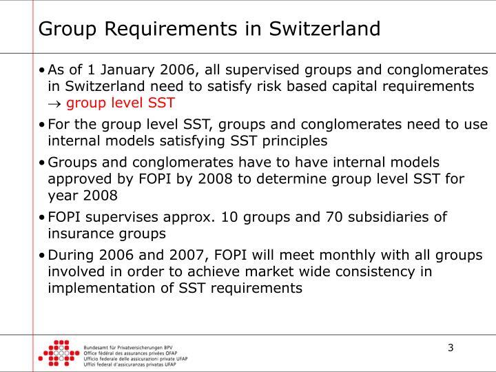 Group Requirements in Switzerland