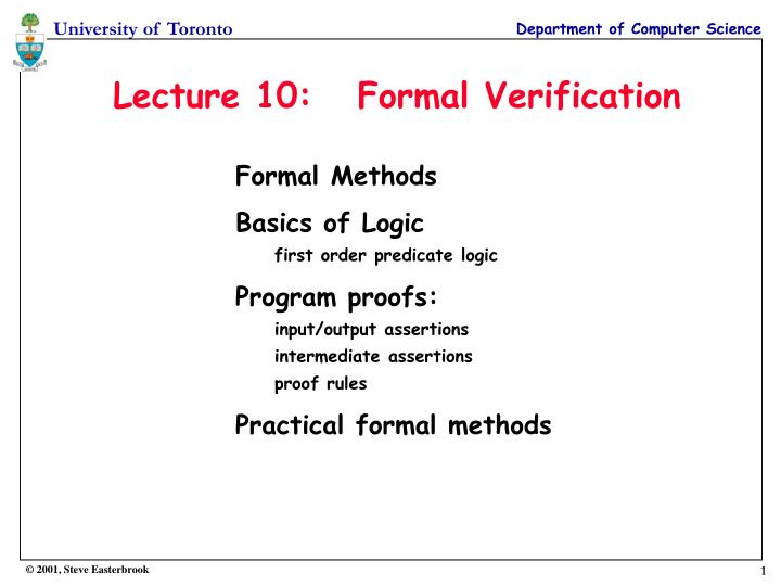 Lecture 10 formal verification