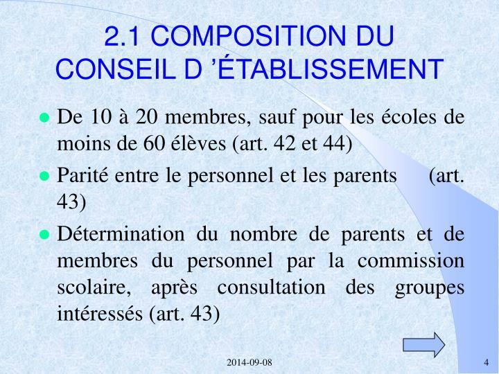 2.1 COMPOSITION DU CONSEIL D'ÉTABLISSEMENT