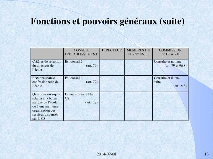 Fonctions et pouvoirs généraux (suite)