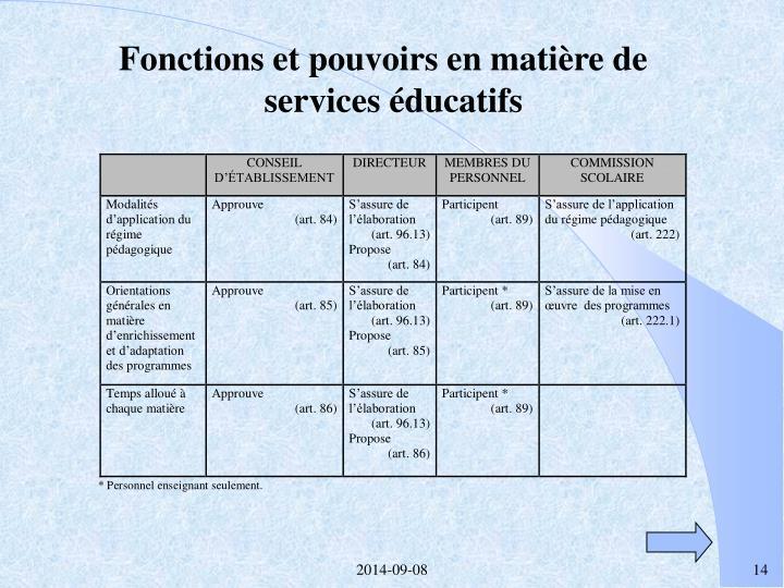 Fonctions et pouvoirs en matière de services éducatifs